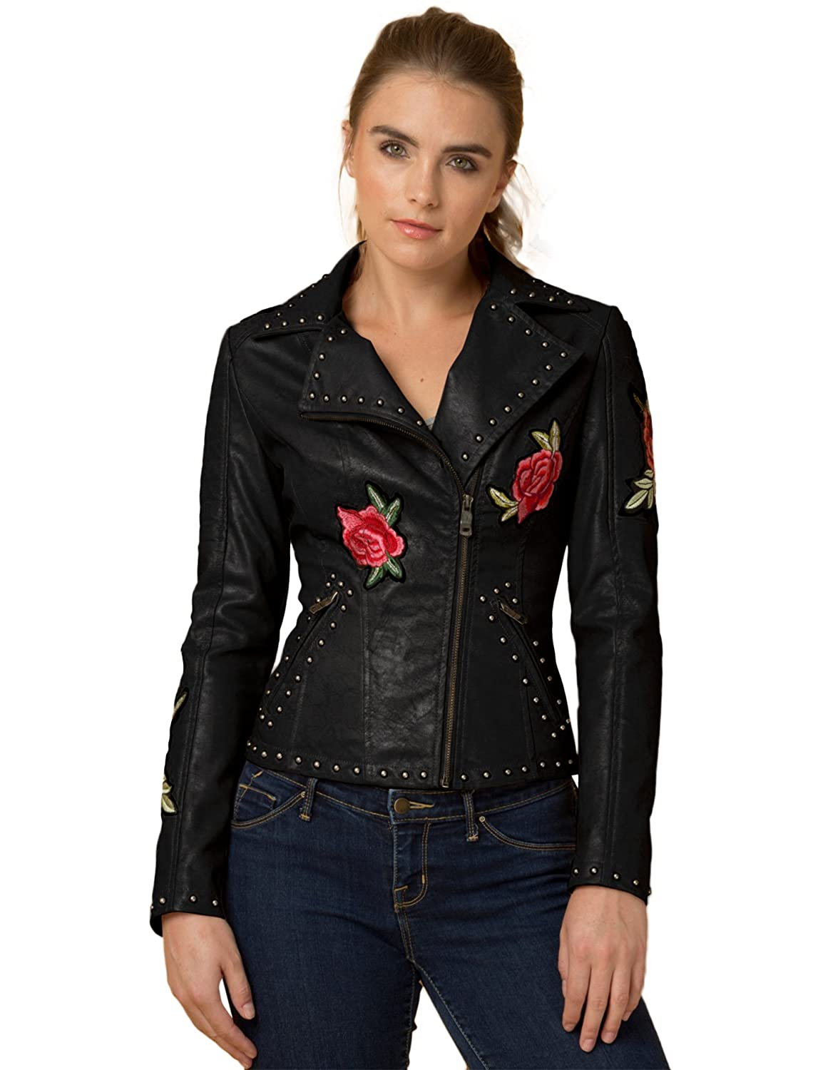 Come Together California WJC1497 Wmens Faux Leather Floral Embroidered Biker Jacket at Amazon Womens Coats Shop