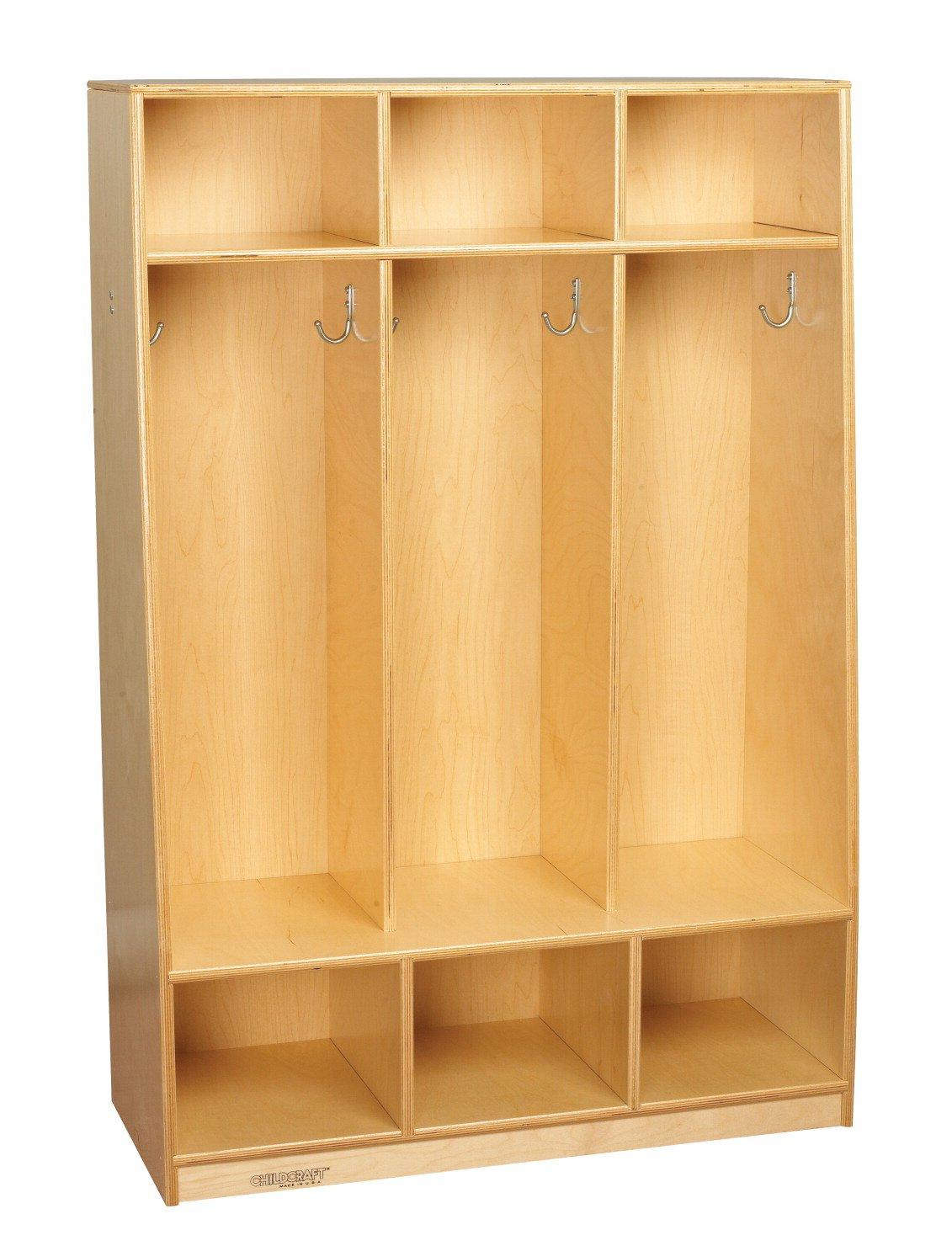 Childcraft 1403214 Bench Coat Locker, 3-Unit, Wood, 32-1/2'' x 13-3/4'' x 48'', Natural Wood Tone