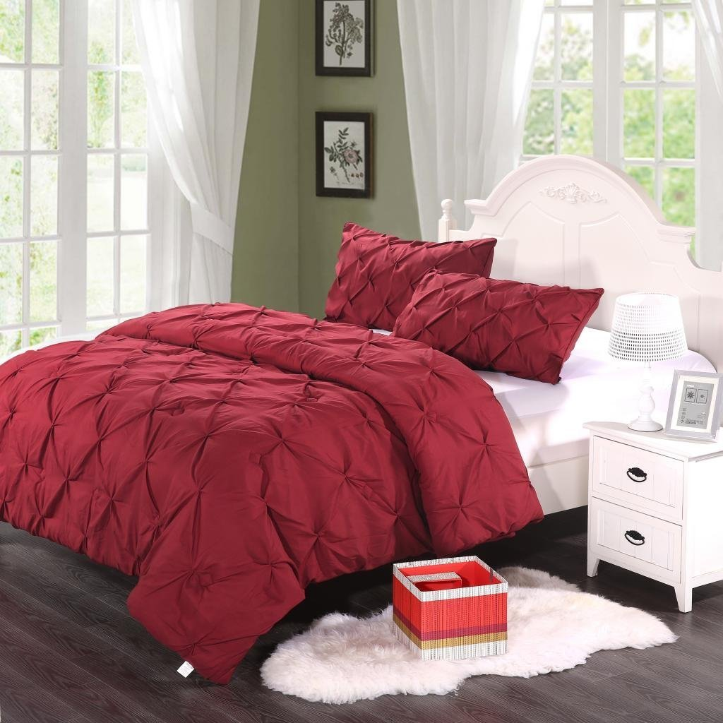 3Pc Microfiber Polyester Brushed Bed Sheets Comforter Sets Queen Size Color Burgundy