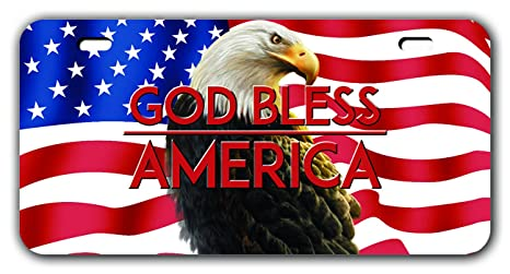 """American Flag Novelty License Plate with  /""""God Bless America/"""""""