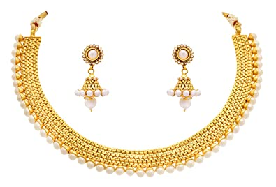 bbf992306ed209 Meenaz Jewellery Gold plated Jewellery Set with Ear rings Traditional One  gram Copper Pearl Necklace Set