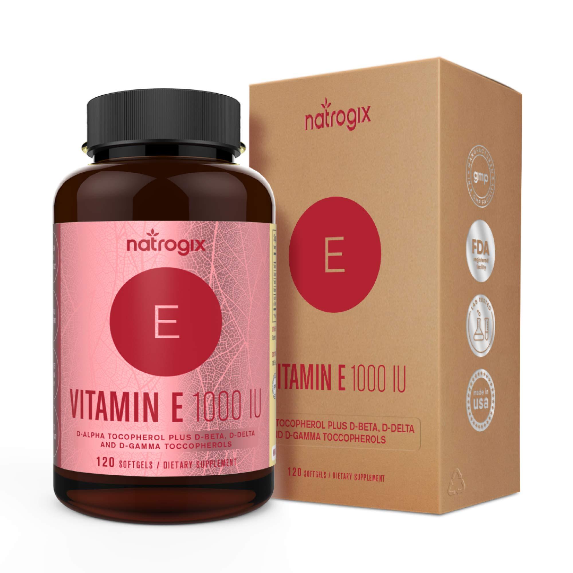 5bf422bdc31 Natural Vitamin E Capsules 1000 IU (120 Softgels) by Natrogix - Mixed D-Alpha  Tocopherol and Mixed Tocopherols - Antioxidant for Healthy Skin