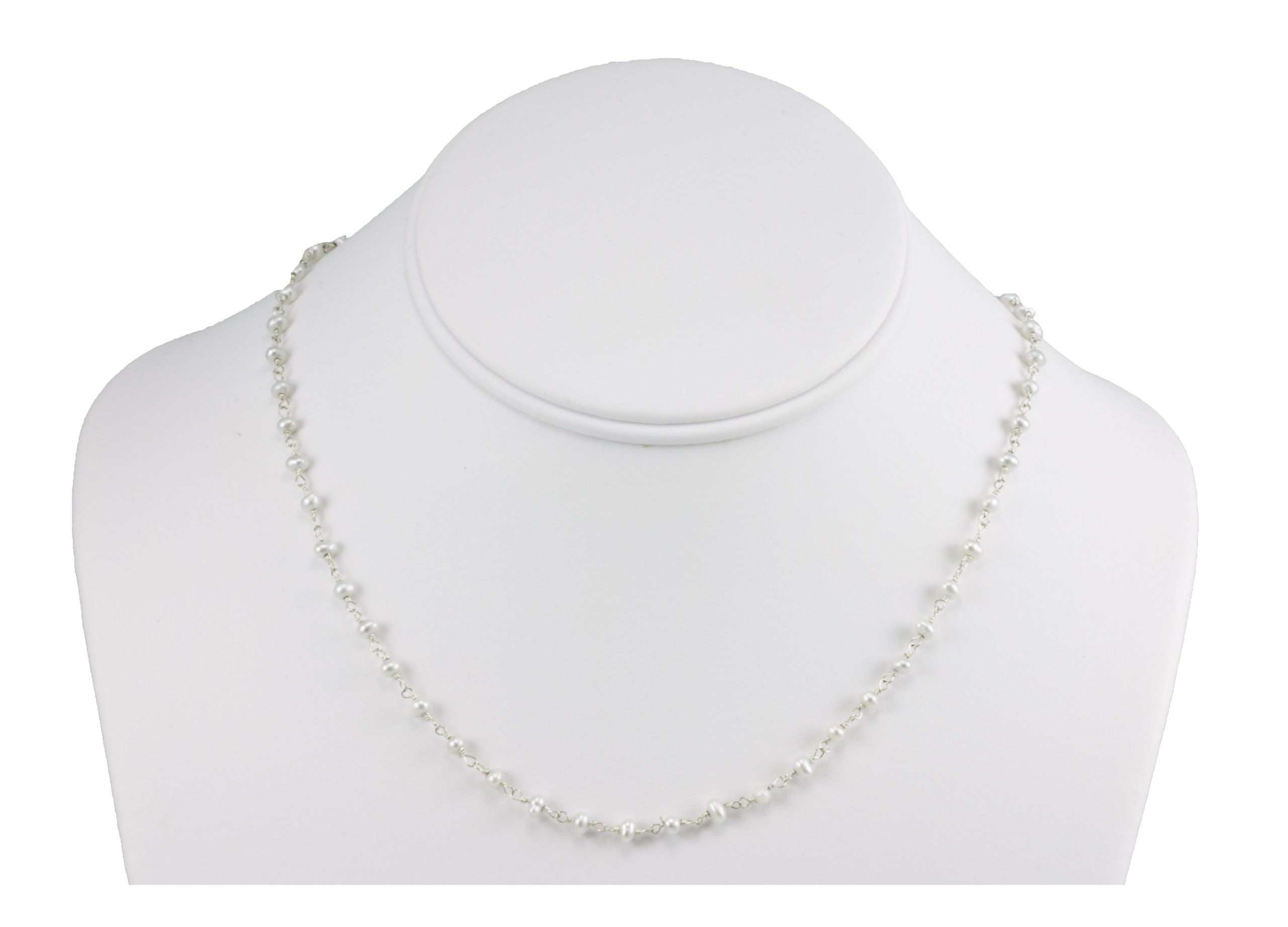 Sterling Silver And Silvertone Freshwater Cultured Pearl Necklace White Small Chain Link (3.0-3.5mm), 18''