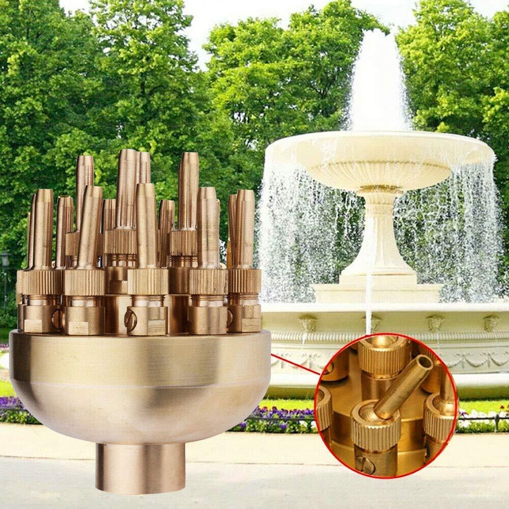 SHZICMY Water Fountain Nozzle Spray Pond Sprinkler, 1.5'' Adjustable Water Fountain Nozzle 19 Flower Sprinklers Spray Head for Pond Pool Outdoor Fountain Brass (USA Stock)