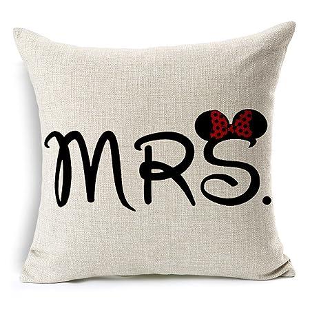 MRS Minnie Mouse Cotton Linen Decorative Throw Pillow Case Cushion Beauteous Minnie Mouse Decorative Pillow