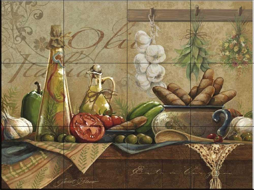 Ceramic Tile Mural - Olio d Olive- by Janet Stever - Kitchen backsplash/Bathroom shower