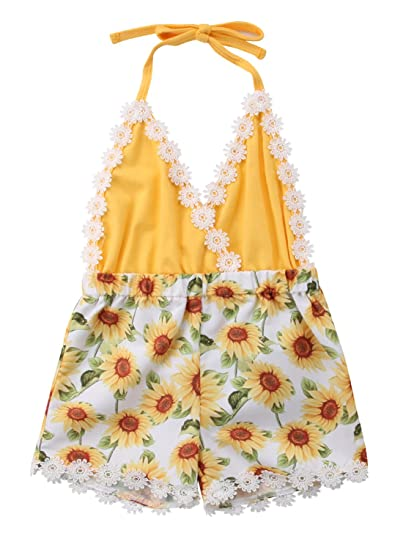 3142e8fa2 Toddler Newborn Baby Girl Halter Sunflower Print One-Piece Romper Jumpsuit  Sunsuit Clothes (3