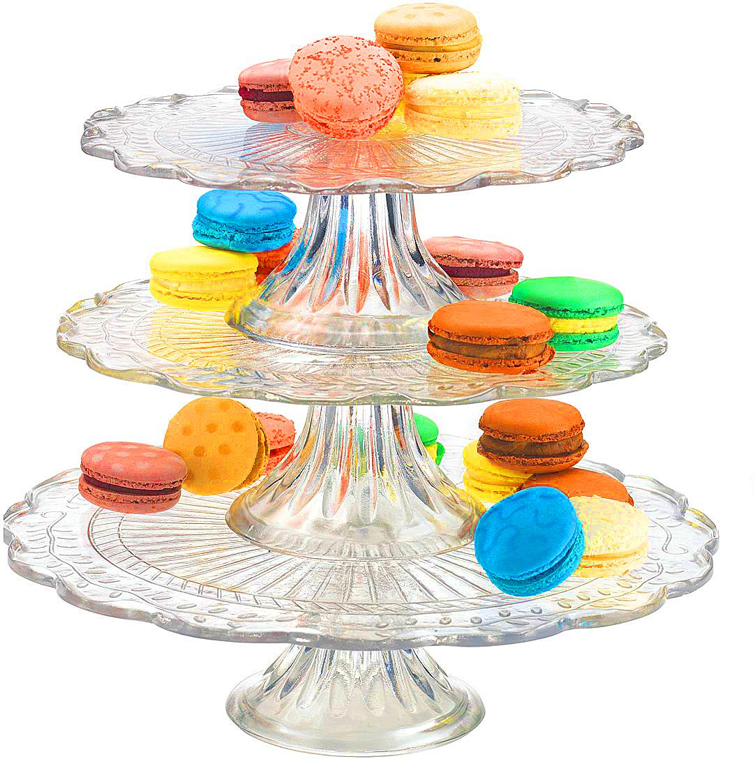 Palais Glassware Elegent 3 in 1 Cupcake or Cake Stand - Mix and Match Use As a One Tier, Two Tier or Three Tier or As 3 Separate Cake Stands - 10'' High X 12'' Diameter (Leaf Design)