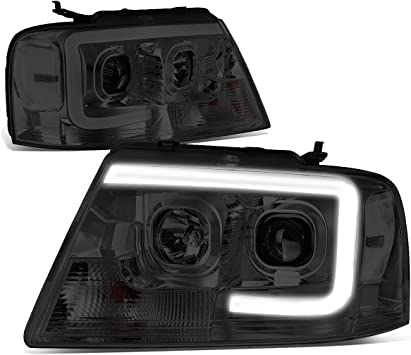 04-08 Ford F150 DNA Motoring Black Housing Amber Corner HL-3D-G2-F1504-BK-AM 3D LED DRL Projector Headlight
