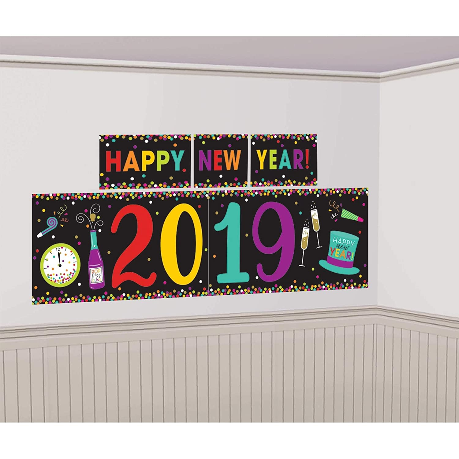 1 Plastic Banner 16 H x 65 W Combined 1 Plastic Banner 32 1//2 H x 118 W 5 pieces in a package Multicolored Amscan 670817 decoration Contains