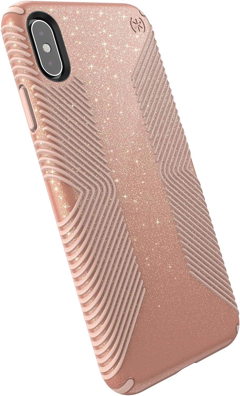 Speck Products Presidio Grip + Glitter iPhone Xs Max Case, Bella Pink with Gold Glitter/Dahlia Peach (117107-6832)