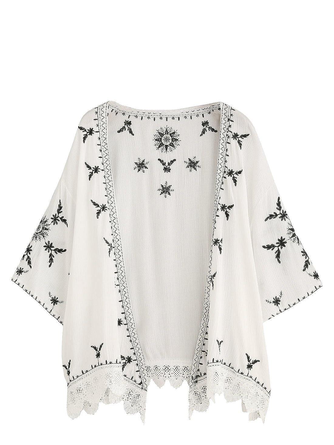 75f2d3652a SweatyRocks Women s Floral Lace Crochet Kimono Cardigan Beach Wear Cover up  at Amazon Women s Clothing store