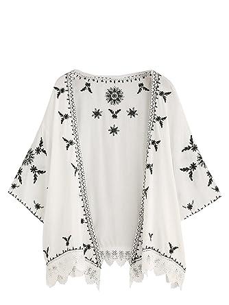 SweatyRocks Women s Floral Lace Crochet Kimono Cardigan Beach Wear Cover up  ... 80931d48f