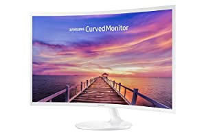"""Samsung 2017 32"""" Full HD 1920 x 1080 Curved LED Ultra Slim Monitor with 16:9, 250cd/m2, 4ms, Gaming Mode, HDMI, Display Port, Headphones Inputs, Glossy White"""