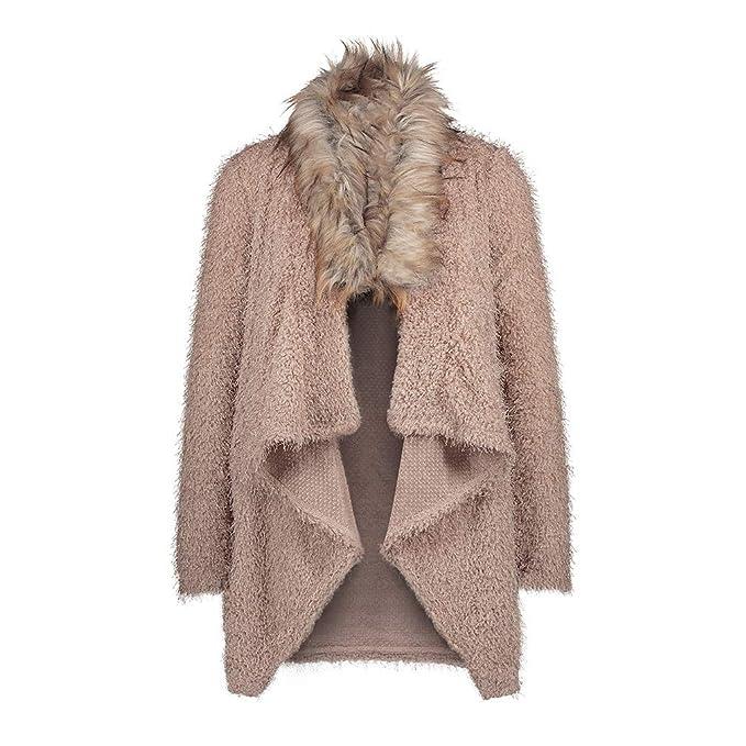 Yying Invierno Mujer Casual Cuello de Piel Suelta suéter Chaqueta Abrigo Largo de Gran tamaño de Punto Cardigan suéter Moda Rompevientos: Amazon.es: Ropa y ...