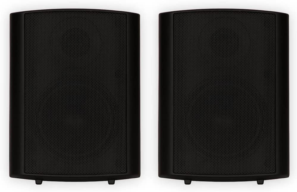 Theater Solutions TS425ODB Indoor or Outdoor Speakers Weatherproof Mountable Black Pair