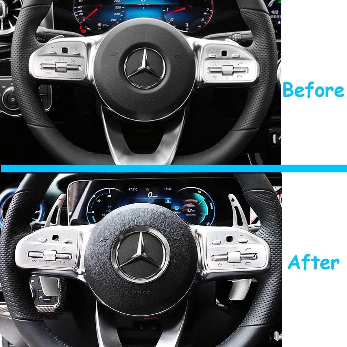 Xigeapg Paddle Shifter Estensione per Mercedes nel Lega di Alluminio Comandi al Volante della Lama dArgento per Un B C CLA CLS e G GL GLA GLC GLE GLS Metris S SL SLC Classe