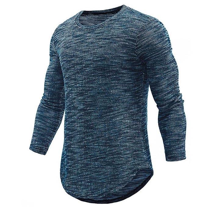 Camiseta para Hombre, JiaMeng Camisa de Manga Larga Delgada Ocasional de la O Cuello Camisa