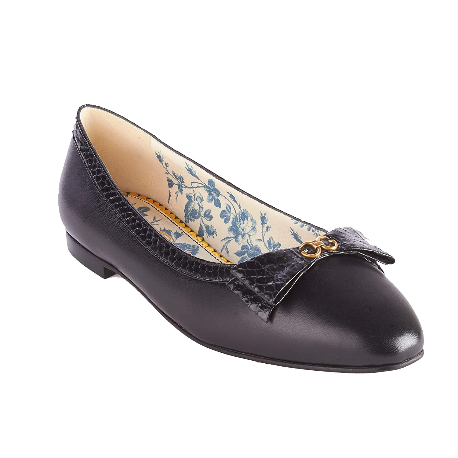 bff5c8504 Amazon.com  Gucci Women s Leather Snakeskin Bow Ballet Flat Shoes Black   Shoes