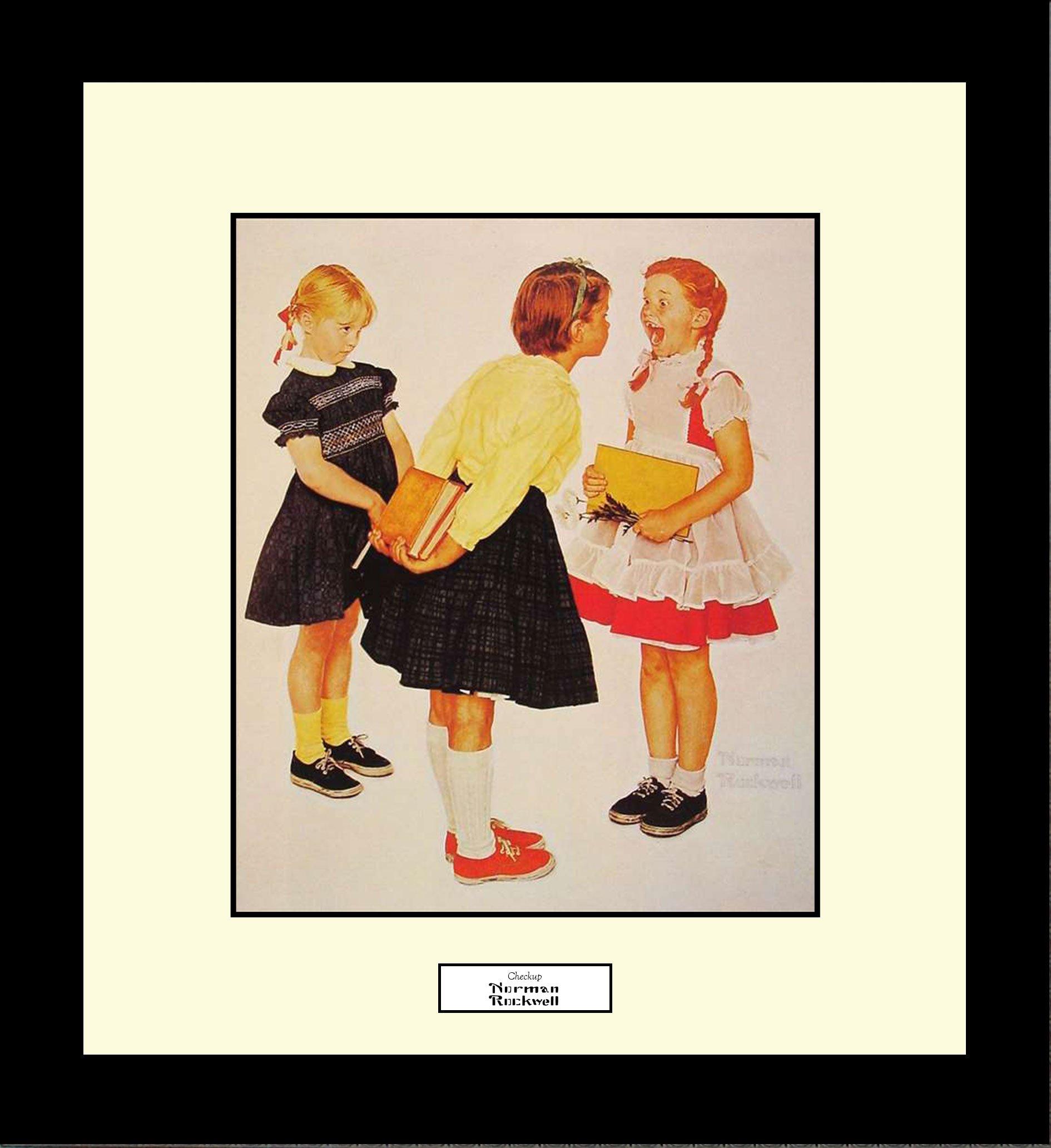 Norman Rockwell CHECKUP Framed Children Dentist Wall Hanging Art Gift