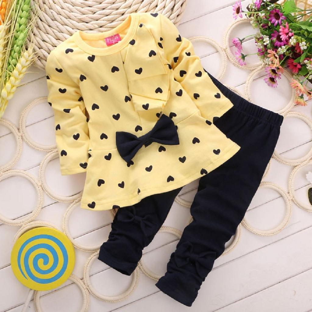 JUNNEY/_New Baby Heart-shaped Print Bow Cute 2PCS Kids Set T shirt Pants