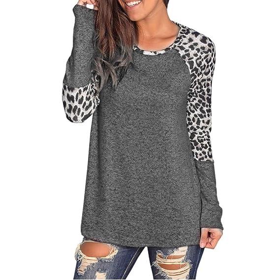 YpingLonk Mujer Camiseta Estampado de Leopardo Costura Color De Contraste  Separación Suelto Manga Larga Cuello Redondo Elegantes Casual Sudadera  Basica ... 61951bc3f31