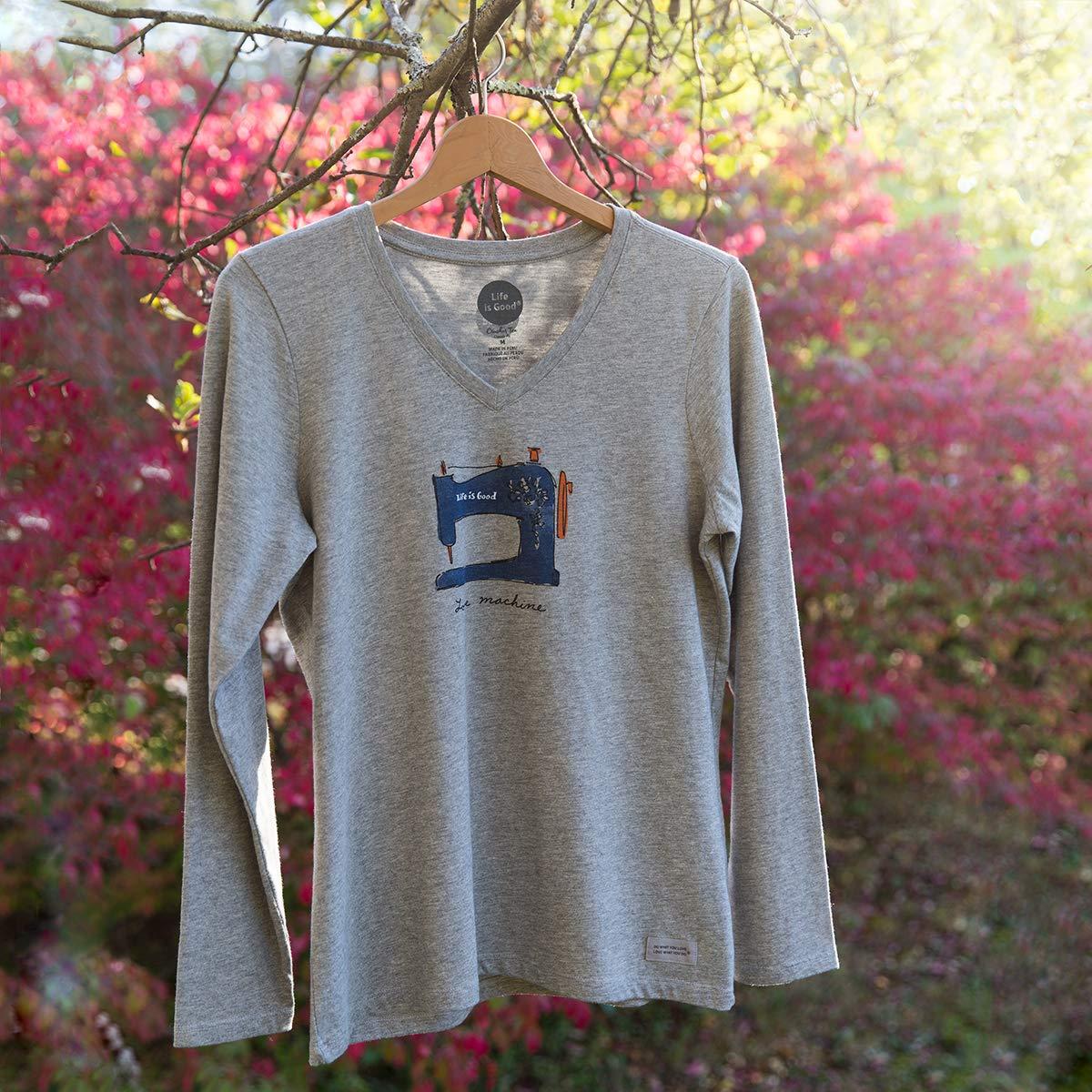 Lg Gray Vneck Love Mach T-Shirt Life Is Good