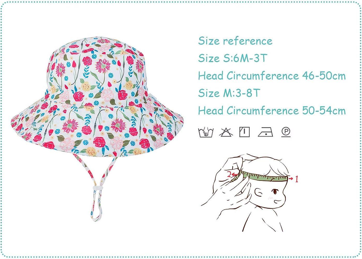 Bambini Cappello da Pescatore Sole Estivo Neonati Bucket Hat Anti-UV Bambino Bambine Bob Berretto con Ala Protezione Solare per Spiaggia Vacanza Viaggio Outdoor Happy Cherry 6-36 Mesi