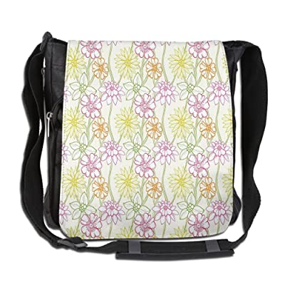 Lovebbag Hand Drawn Colorful Flourishing Spring Flowers Sketchy Design Crossbody Messenger Bag on sale