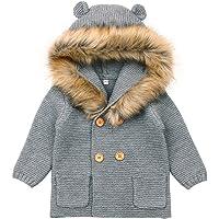 elegantstunning Children Boys Girls Hooded Knitted Warm Outerwear + Fur Collar