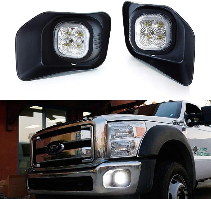 BUNKER INDUST LED Fog Lights for Ford F250//F350//F450 2011 2012 2013 2014 2015 2016 Bumper Driving Fog lamp Kit Complete Set Fog Light with Mounting Kit and Bezel Cover