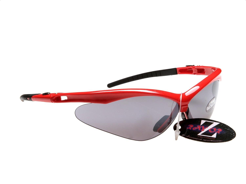 RayZor Pro Liteweight UV400 Red Sports Wrap Skiing Sunglasses, Smoked Mirrored Anti-Glare Lens.