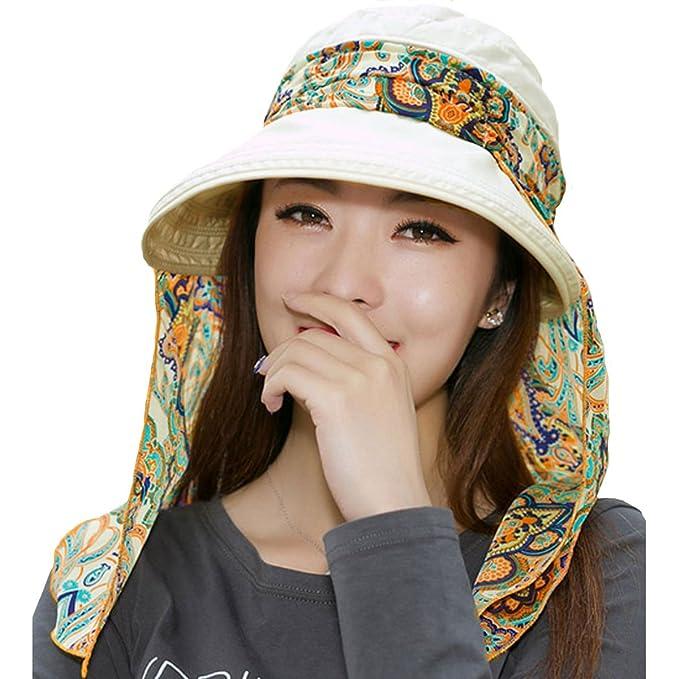 7c5bab8f Meliya Women 2-in-1 Foldable Summer Visor Sun Hat Wide Brim Cap Bowknot Beach  Hat(Beige): Amazon.co.uk: Clothing