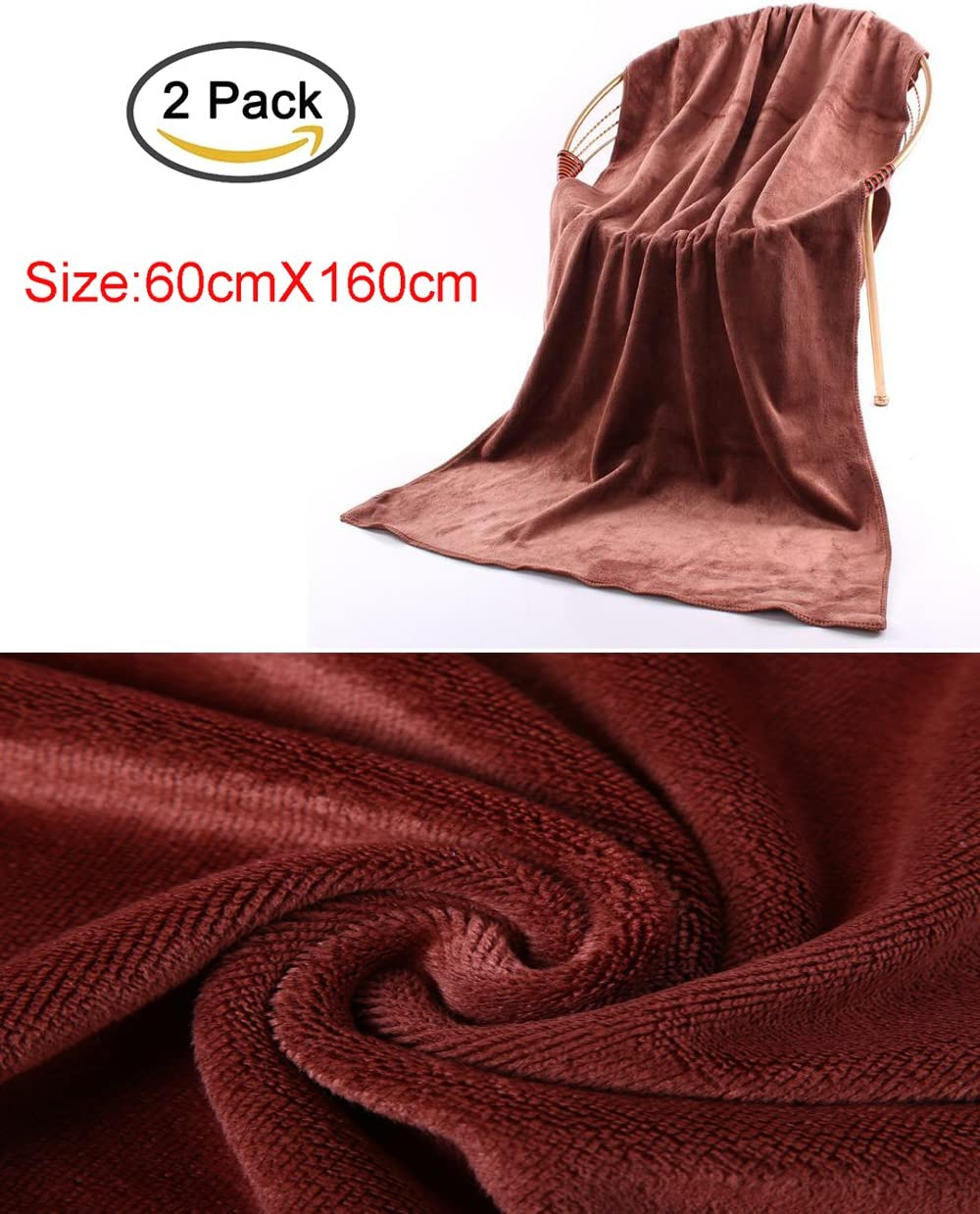 Coffee Pack of 2 Microfiber Car Wash Drying Towels Beauty Care 60 x 160cm 23.62 x 62.99 inches Kitchen Clean Enterest Washing towel Nano-super fiber towel for Car Wash Car Wax