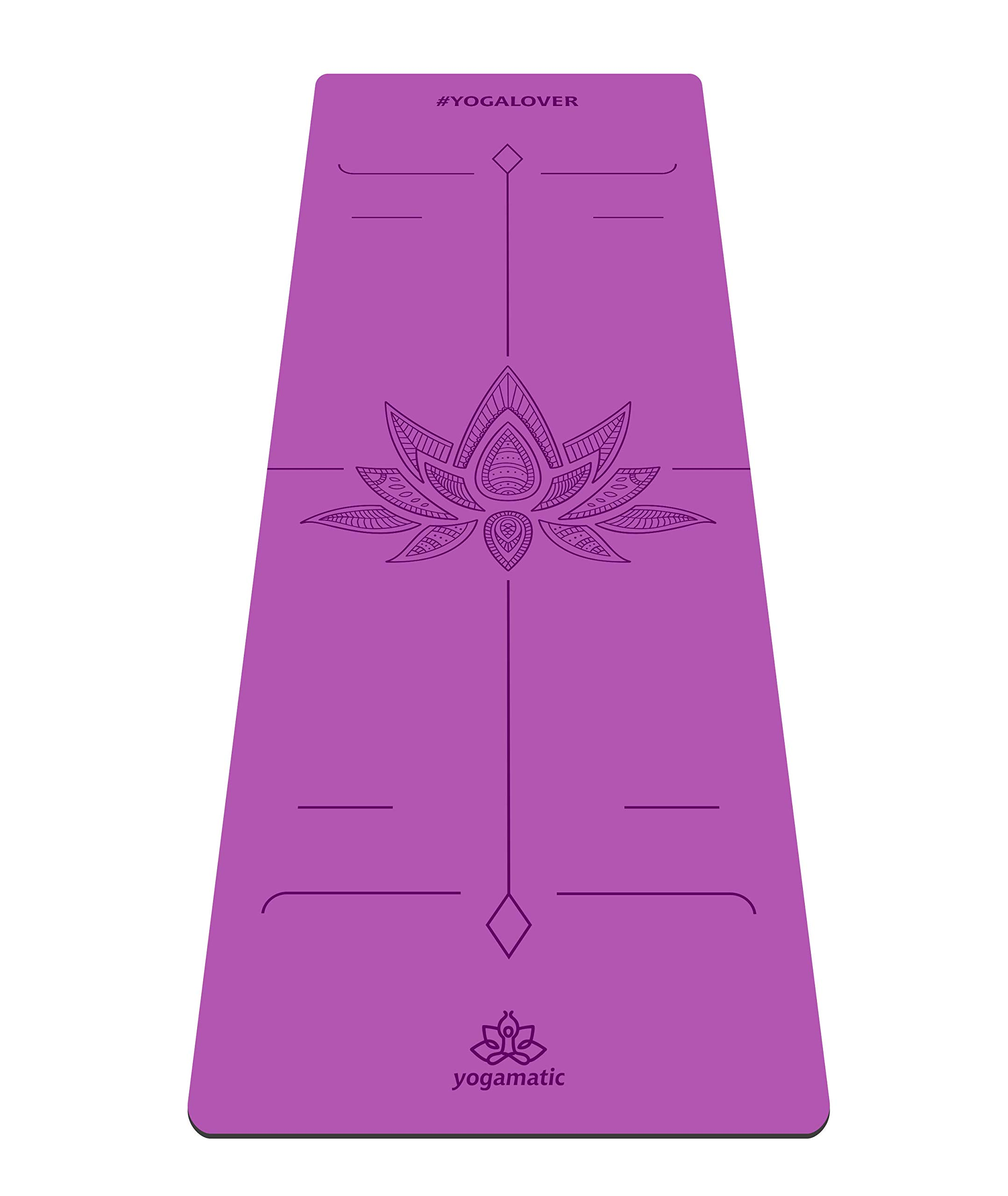 ARTMATIC Premium Eco Friendly Yoga Mat - Hamsa Grey / Natural rubber base + Non slip top / The best GripForMe system / With Original Unique Alignment (Yoga Lover Purple)