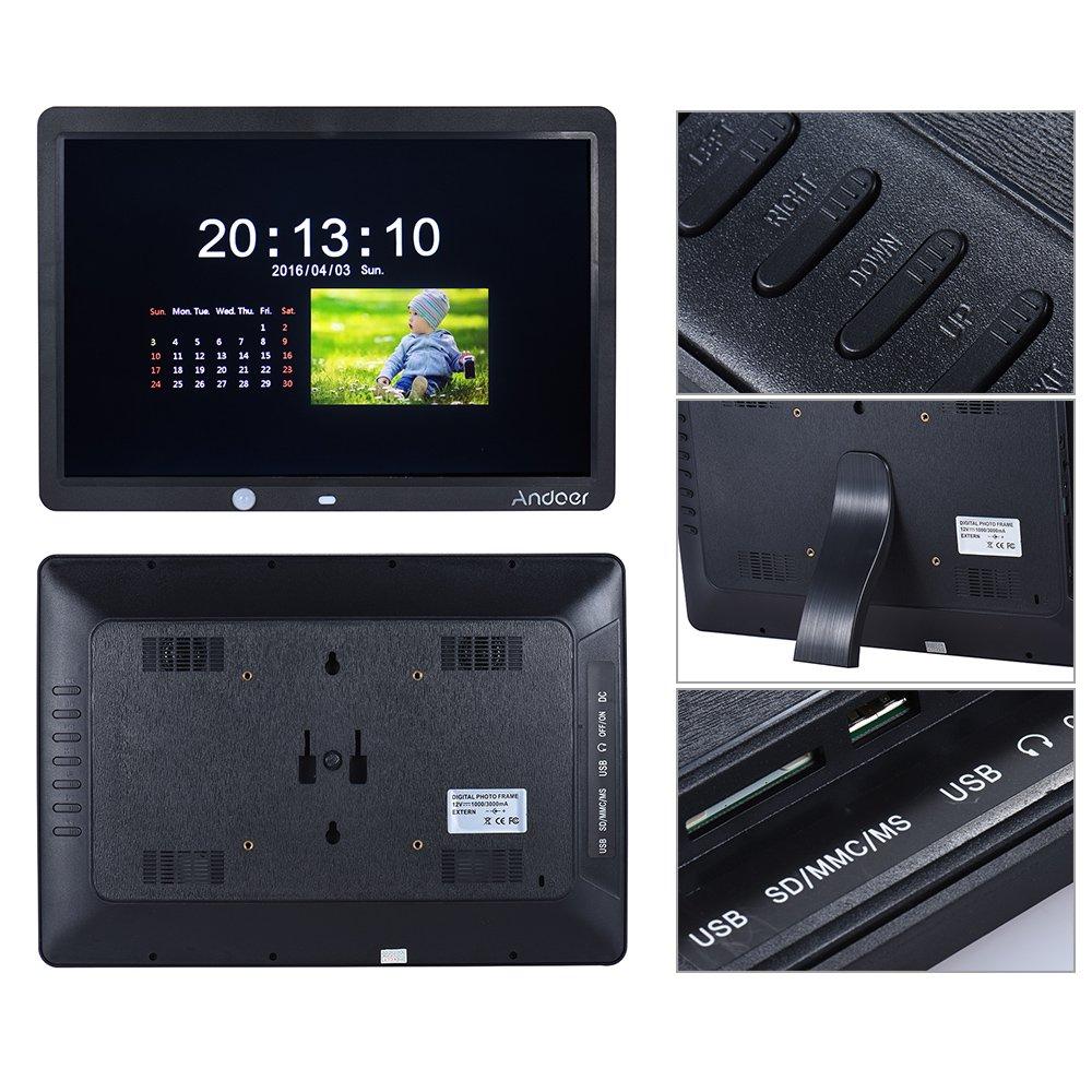 Marco digital para Fotos y vídeos,Andoer 15 Pulgadas Pantalla Grande HD LED Marco de Fotos 1280 * 800 Música / Video / E-book etc y El Sensor de Movimiento ...