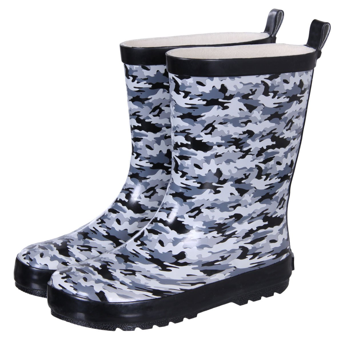 Dingbats Kids Rubber Rainboots with Gray Camouflage Theme