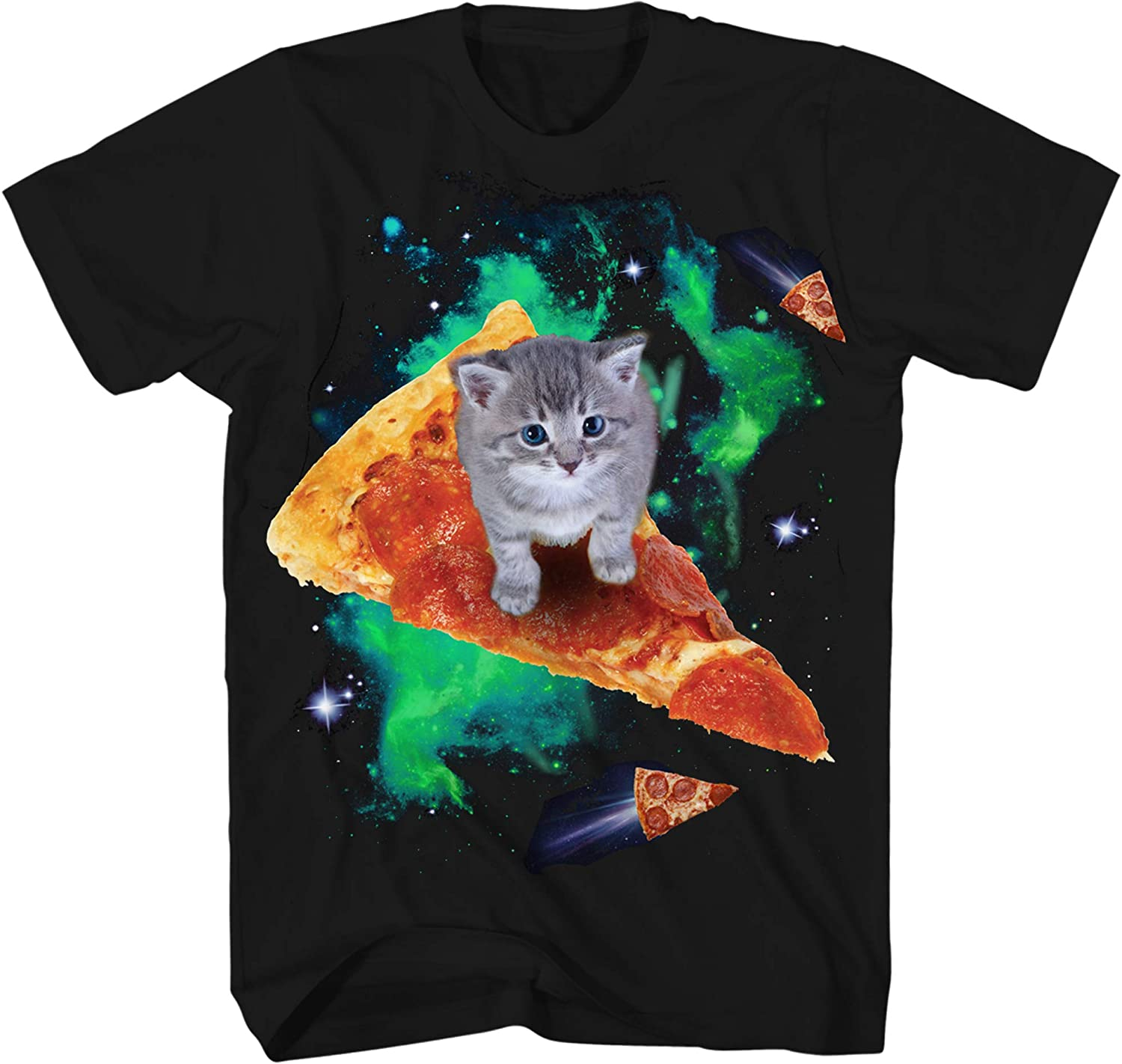 Cat Riding Pizza Galaxy Kitten Outerspace Neon Classic Retro Neon Funny Humor Pun Adult Men's Graphic T-Shirt