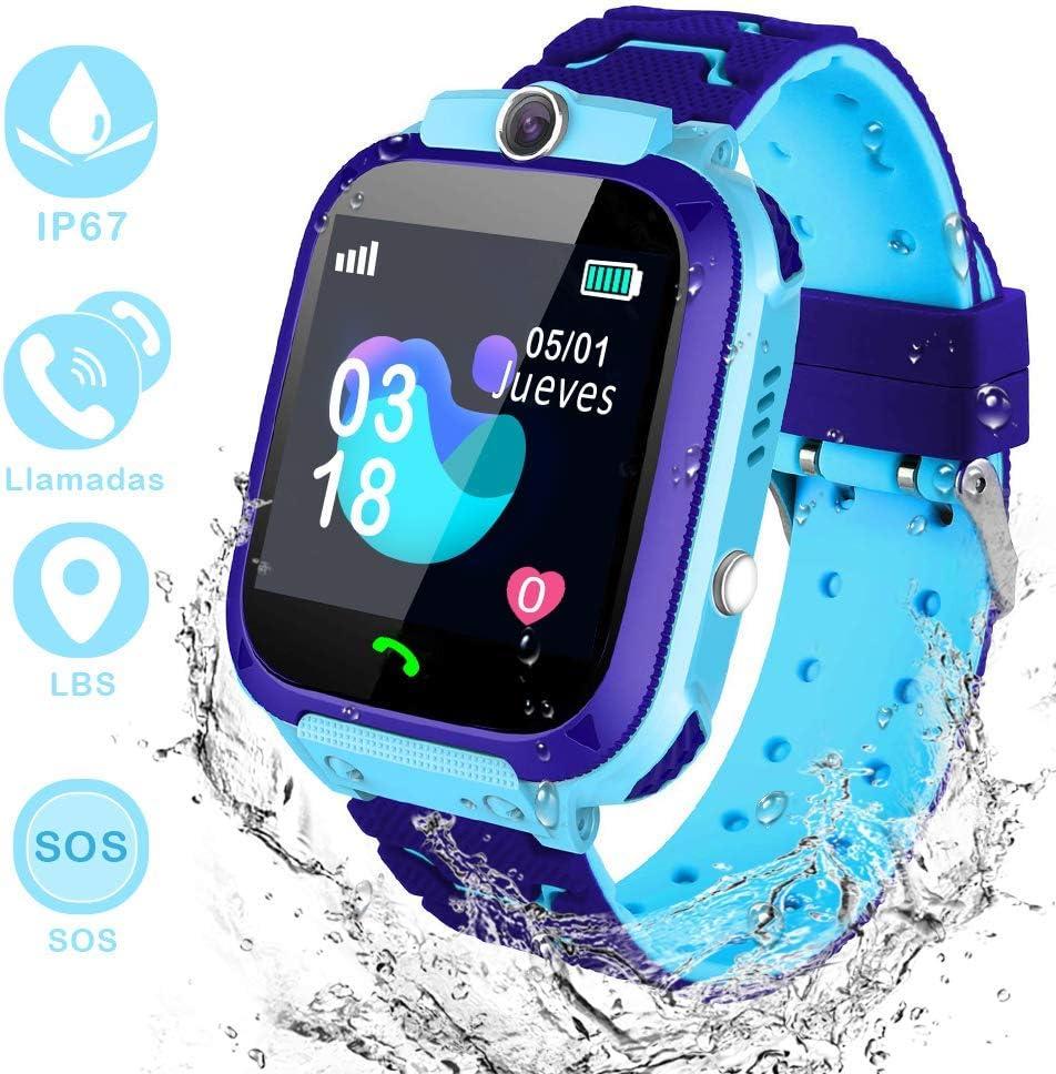 Winnes Inteligente Reloj para Niños, IP67 Impermeable Smart Watch Phone 2 Vías Llamada Reloj Niñas Localizador con SOS Anti-Lost Alarm Táctil Smartwatch para 3-12 Años De Edad (S12 Azul)
