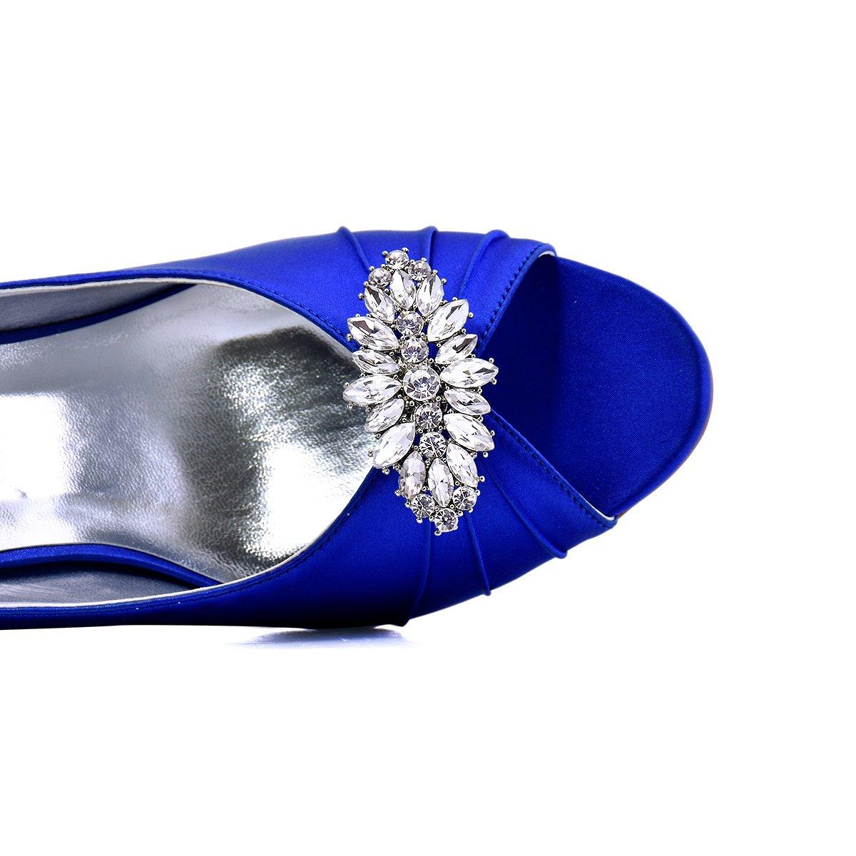 ElegantPark AW Women's Leaf Design Rhinestones Crystal Clutch Dress Hat Shoe Clips Silver 2 Pcs by ElegantPark (Image #3)