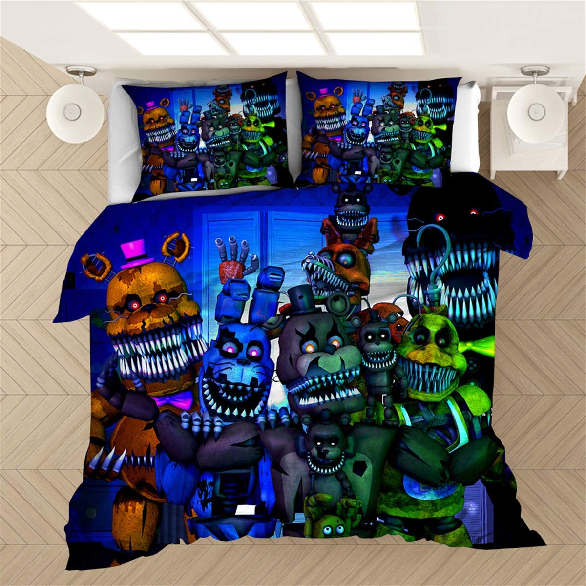Coo-kid Five Nights at Freddy's Duvet Cover Set-3 Piece Bedding Duvet Cover Set for Kids-Soft Lightweight Quilt Cover