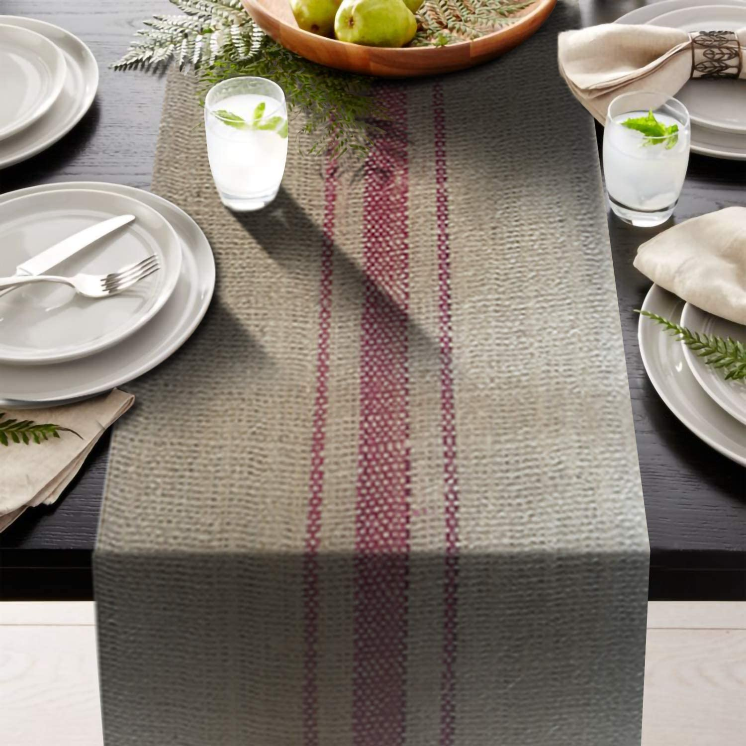 AAYU Brand Premium 10 yds Burlap Table Runner with 3 Stripes Down The Middle | 12 inch x 30 ft | Non-Fraying | Food Grade Burlap | Eco-Friendly, Natural Jute Product | 360 inches Long (Magenta)