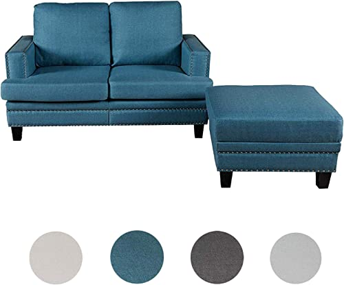 Top Space Loveseat Couch Modern Upholstered Mid Century Sofa Casual Arm Chair/Ottoman Linen Fabric Footstool Rivet Design Household Change Shoe Bench Sofa Living Room Furniture 2 PC