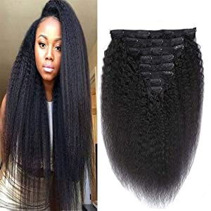 Clip in Human Hair Extensions Kinky Straight #1B Natura Black Hair 100% Remy Human Hair 130 Gram Silky Kinky Straight Short Thick Real Human Hair Extensions for Black Women 14 Inch
