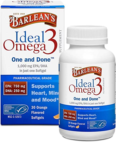 Barlean's Ideal Omega 3 Nutritional Supplement Softgels with 1,000mg EPA/DHA for Heart, Mind, and Mood - Pharmaceutical Grade, Certified Sustainable Seafood - 60-Count