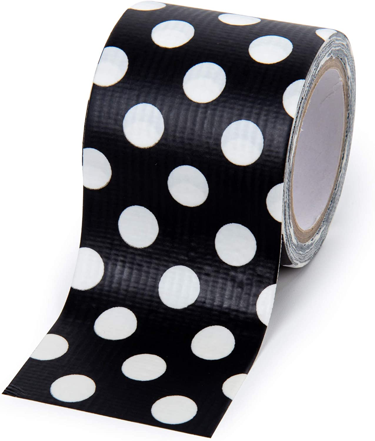 48mm x 4.5-meter 6 Pieces Fun Craft Duct Tapes Time 4 Crafts 44074DC-6 Vibrant Polka Dots Black