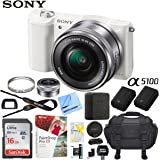 Sony a5100 Alpha Mirrorless Digital Camera 24MP DSLR (White) w/16-50mm Lens ILCE-5100L/W with Extra Battery Case 16GB Memory Deluxe Pro Bundle