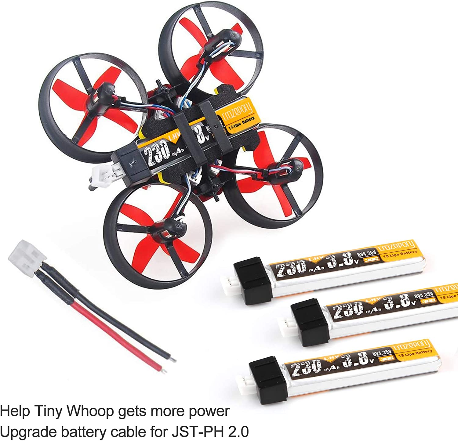 4pcs 230mAh HV 1S Lipo Battery 30C 3.8V for Tiny Whoop Blade Inductrix JST-PH 2.0 Connector