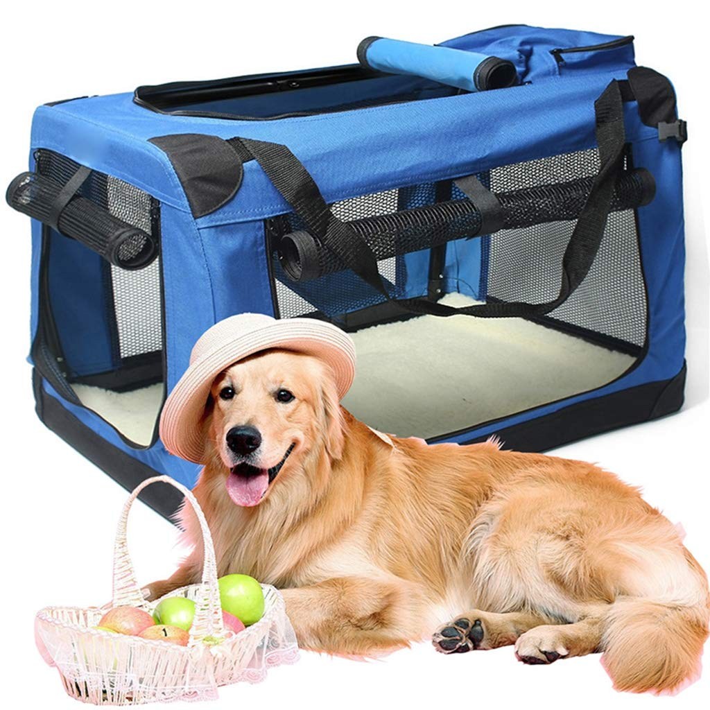 bluee M bluee M MEIHAO Soft Foldable Dog Crate Carry Kennel for Indoor and Outdoor Use Comfy Dog Home and Dog Travel Crate Strong Steel Frame, Washable Fabric Cover