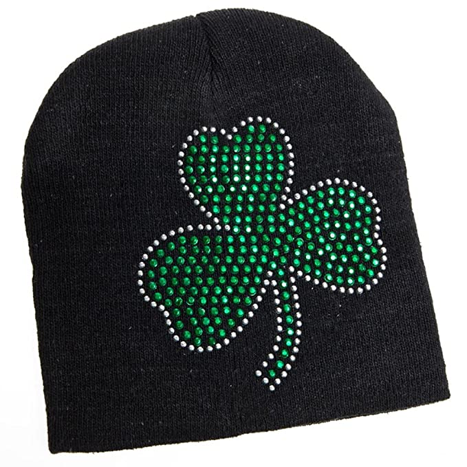 Amazon St Patricks Day Black Knit Beanie Hat With Green